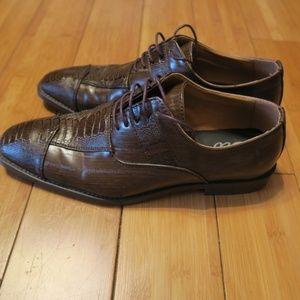 Sio Trenton-065 Brown Croc Woodgrain Oxford Shoes